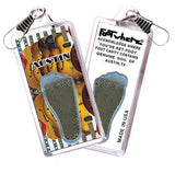 Austin FootWhere® Souvenir Zipper-Pulls. 6 Piece Set. Made in USA-FootWhere® Souvenirs
