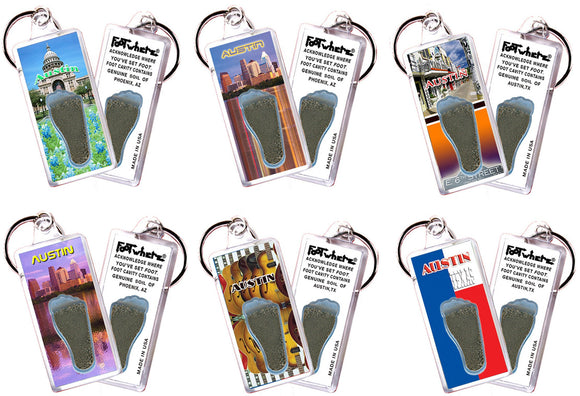 Austin FootWhere® Souvenir Keychains. 6 Piece Set. Made in USA - FootWhere® Souvenirs