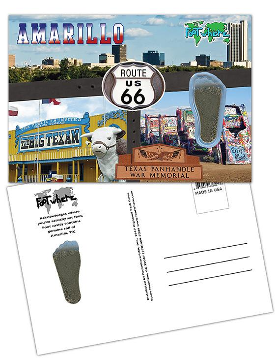 Amarillo FootWhere® Souvenir Postcard. Made in USA-FootWhere® Souvenirs