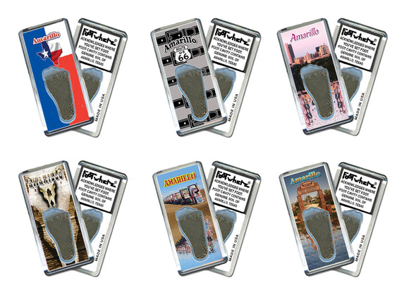 Amarillo FootWhere® Souvenir Fridge Magnets. 6 Piece Set. Made in USA-FootWhere® Souvenirs