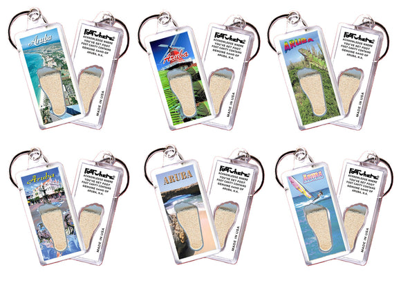 Aruba FootWhere® Souvenir Keychains. 6 Piece Set. Made in USA - FootWhere® Souvenirs