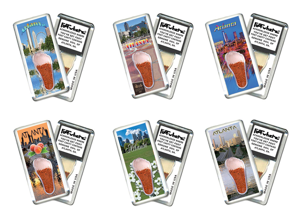 Atlanta FootWhere® Souvenir Fridge Magnets. 6 Piece Set. Made in USA - FootWhere® Souvenirs