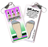 Barbados FootWhere® Souvenir Zipper-Pulls. 6 Piece Set. Made in USA-FootWhere® Souvenirs