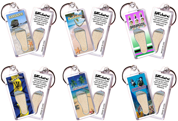 Barbados FootWhere® Souvenir Keychains. 6 Piece Set. Made in USA-FootWhere® Souvenirs