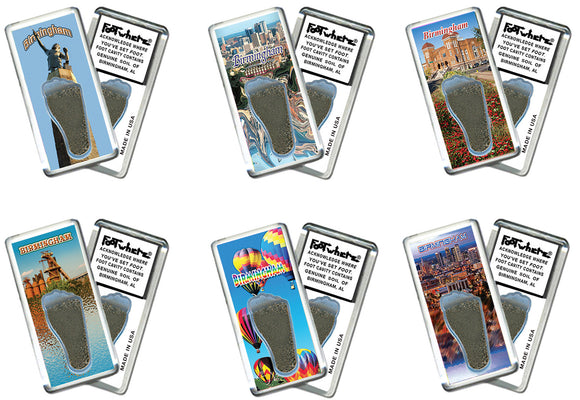 Birmingham FootWhere® Souvenir Fridge Magnets. 6 Piece Set. Made in USA-FootWhere® Souvenirs