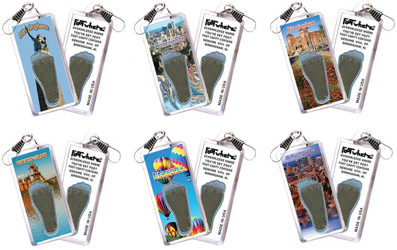 Birmingham FootWhere® Souvenir Zipper-Pulls. 6 Piece Set. Made in USA - FootWhere® Souvenirs