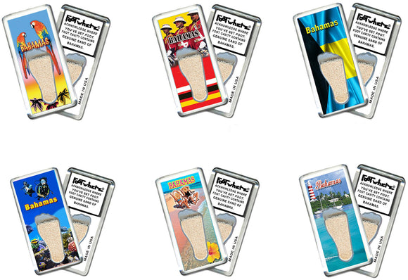 Bahamas FootWhere® Souvenir Fridge Magnets. 6 Piece Set. Made in USA-FootWhere® Souvenirs