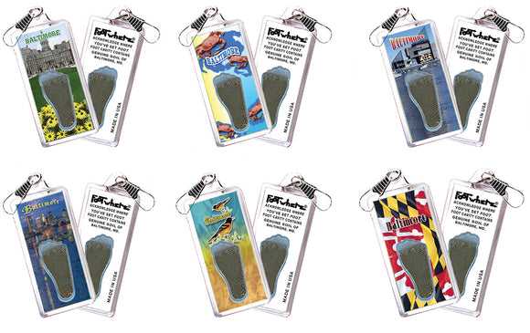 Baltimore FootWhere® Souvenir Zipper-Pulls. 6 Piece Set. Made in USA-FootWhere® Souvenirs