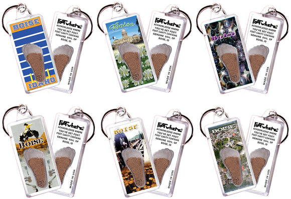 Boise FootWhere® Souvenir Keychains. 6 Piece Set. Made in USA - FootWhere® Souvenirs