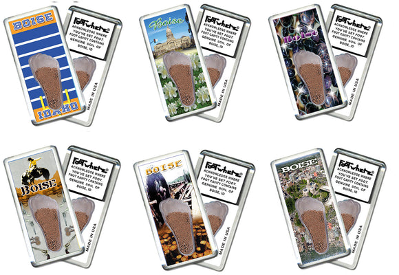 Boise FootWhere® Souvenir Fridge Magnets. 6 Piece Set. Made in USA-FootWhere® Souvenirs