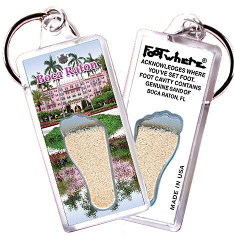 Boca Raton, FL FootWhere® Souvenir Key Chain. Made in USA-FootWhere® Souvenirs
