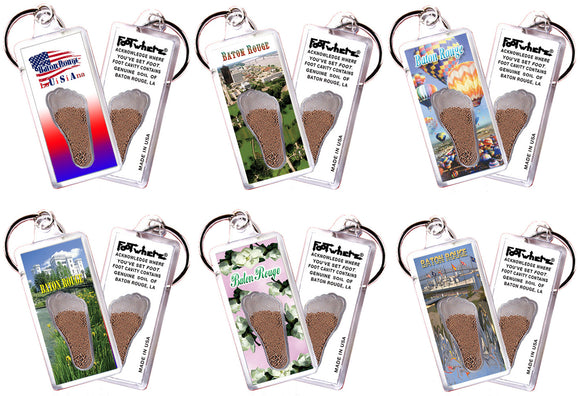 Baton Rouge FootWhere® Souvenir Keychains. 6 Piece Set. Made in USA - FootWhere® Souvenirs