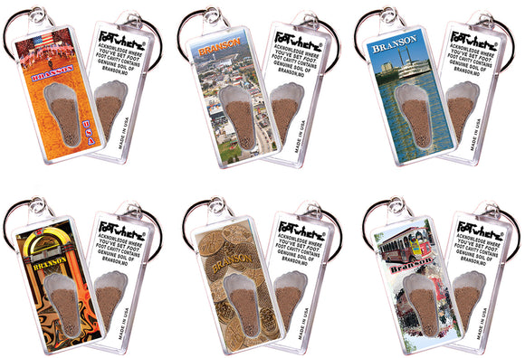 Branson FootWhere® Souvenir Keychains. 6 Piece Set. Made in USA - FootWhere® Souvenirs