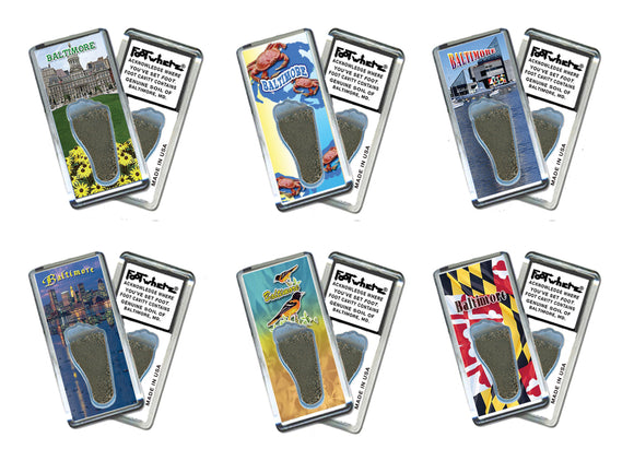 Baltimore FootWhere® Souvenir Fridge Magnets. 6 Piece Set. Made in USA-FootWhere® Souvenirs