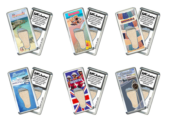 Bermuda FootWhere® Souvenir Fridge Magnets. 6 Piece Set. Made in USA-FootWhere® Souvenirs