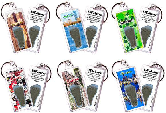 Boston FootWhere® Souvenir Keychains. 6 Piece Set. Made in USA - FootWhere® Souvenirs