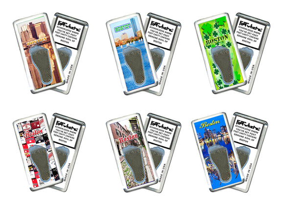 Boston FootWhere® Souvenir Fridge Magnets. 6 Piece Set. Made in USA-FootWhere® Souvenirs