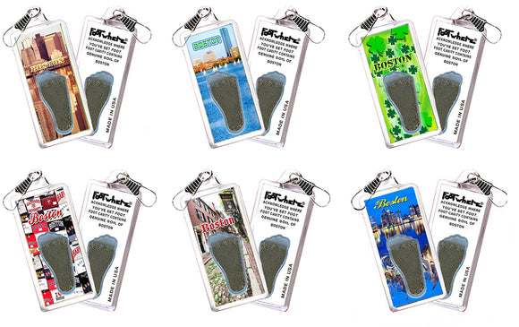 Boston FootWhere® Souvenir Zipper-Pulls. 6 Piece Set. Made in USA - FootWhere® Souvenirs