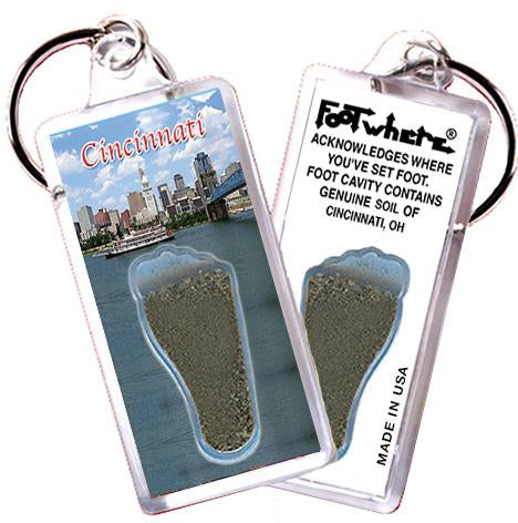Cincinnati FootWhere® Souvenir Keychain. Made in USA - FootWhere® Souvenirs