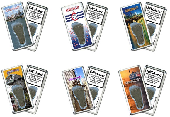 Cincinnati FootWhere® Souvenir Fridge Magnets. 6 Piece Set. Made in USA