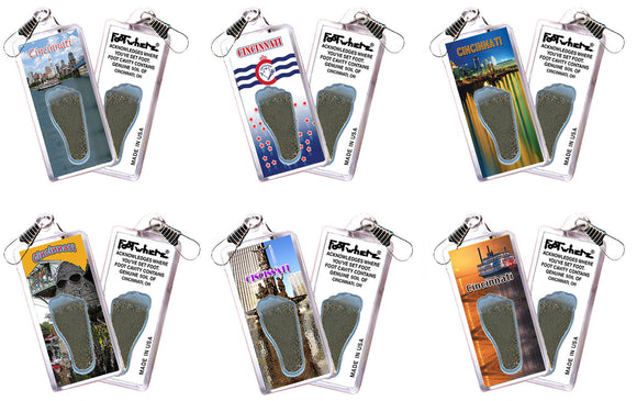 Cincinnati FootWhere® Souvenir Zipper-Pulls. 6 Piece Set. Made in USA