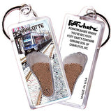 Charlotte FootWhere® Souvenir Keychain. Made in USA-FootWhere® Souvenirs