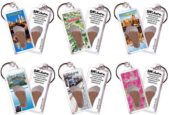Charlotte FootWhere® Souvenir Keychains. 6 Piece Set. Made in USA - FootWhere® Souvenirs
