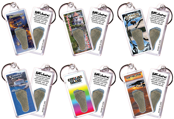 Catalina Island FootWhere® Souvenir Keychains. 6 Piece Set. Made in USA - FootWhere® Souvenirs