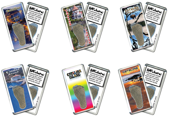 Catalina Island FootWhere® Souvenir Fridge Magnets. 6 Piece Set. Made in USA - FootWhere® Souvenirs