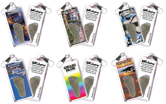Catalina Island FootWhere® Souvenir Zipper-Pulls. 6 Piece Set. Made in USA - FootWhere® Souvenirs