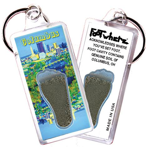 Columbus, OH FootWhere® Souvenir Keychain. Made in USA - FootWhere® Souvenirs