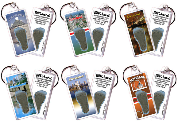 Cleveland FootWhere® Souvenir Keychains. 6 Piece Set. Made in USA