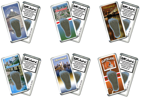 Cleveland FootWhere® Souvenir Fridge Magnets. 6 Piece Set. Made in USA