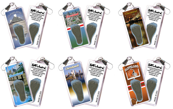 Cleveland FootWhere® Souvenir Zipper-Pulls. 6 Piece Set. Made in USA