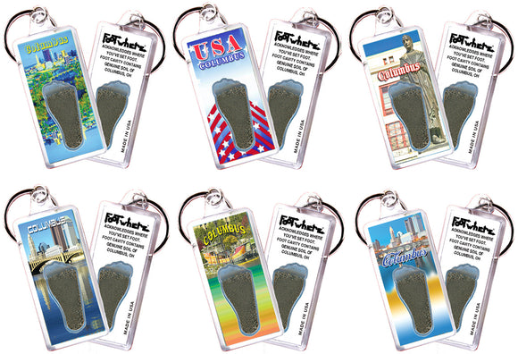 Columbus FootWhere® Souvenir Keychains. 6 Piece Set. Made in USA