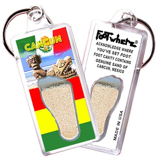 Cancun FootWhere® Souvenir Keychain. Made in USA - FootWhere® Souvenirs
