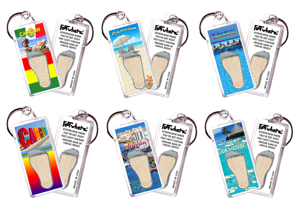 Cancun FootWhere® Souvenir Keychains. 6 Piece Set. Made in USA-FootWhere® Souvenirs