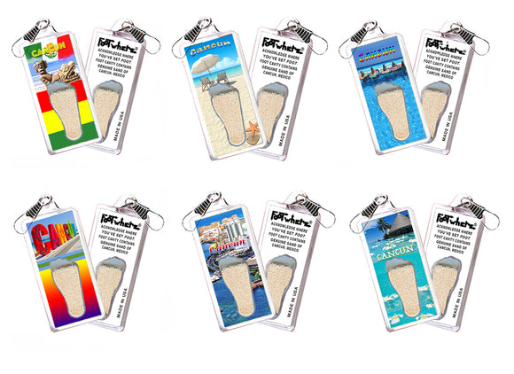 Cancun FootWhere® Souvenir Zipper-Pulls. 6 Piece Set. Made in USA - FootWhere® Souvenirs