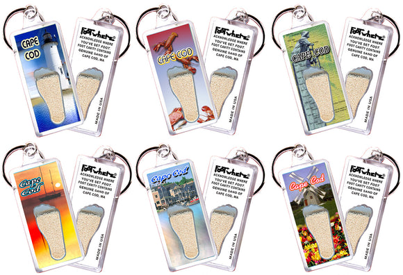 Cape Cod FootWhere® Souvenir Keychains. 6 Piece Set. Made in USA - FootWhere® Souvenirs