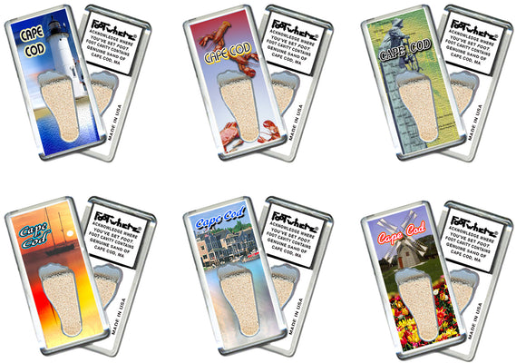 Cape Cod FootWhere® Fridge Magnets. 6 Piece Set. Made in USA - FootWhere® Souvenirs