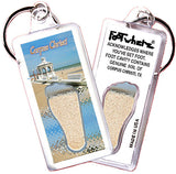 Corpus Christi FootWhere® Souvenir Keychains. 6 Piece Set. Made in USA-FootWhere® Souvenirs