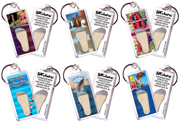 Cabo San Lucas FootWhere® Souvenir Keychains. 6 Piece Set. Made in USA