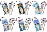 Clearwater FootWhere® Souvenir Keychains. 6 Piece Set. Made in USA-FootWhere® Souvenirs