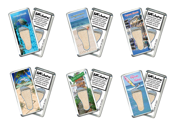 Cayman Islands FootWhere® Souvenir Fridge Magnets. 6 Piece Set. Made in USA-FootWhere® Souvenirs