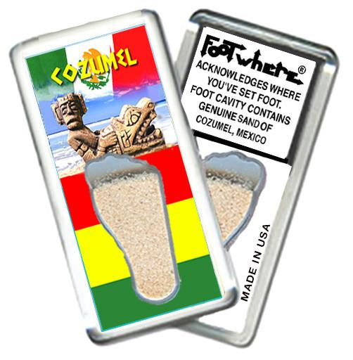 Cozumel FootWhere® Souvenir Magnet. Made in USA-FootWhere® Souvenirs