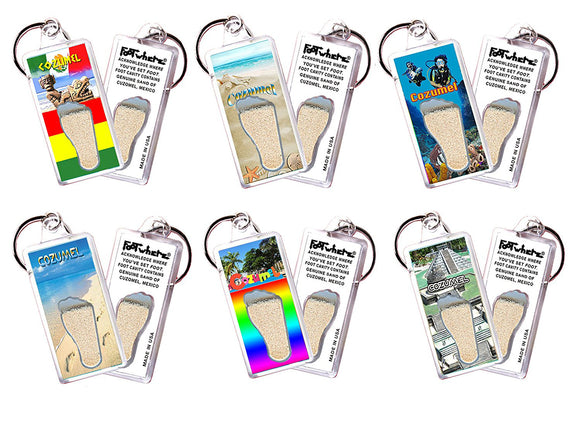 Cozumel FootWhere® Souvenir Keychains 6 Piece Set. Made in USA-FootWhere® Souvenirs