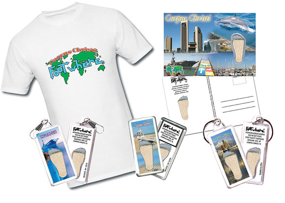Corpus Christi FootWhere® 8-PC Souvenir Gift Set. Made in USA White…-FootWhere® Souvenirs