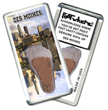 Des Moines FootWhere® Souvenir Fridge Magnet. Made in USA-FootWhere® Souvenirs