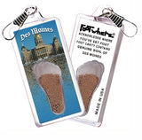 Des Moines FootWhere® Souvenir Zipper-Pull. Made in USA-FootWhere® Souvenirs