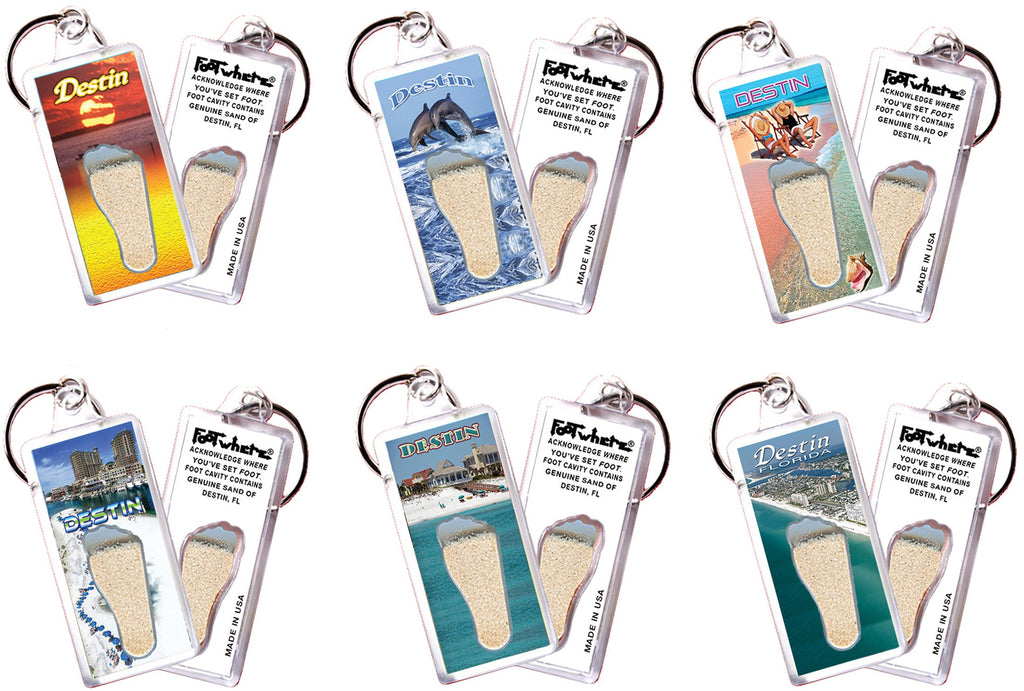 Destin FootWhere® Souvenir Keychains. 6 Piece Set. Made in USA - FootWhere® Souvenirs